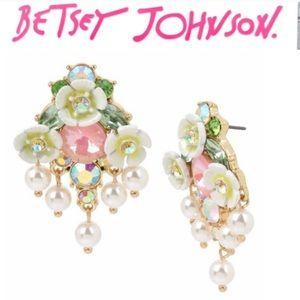 Betsey Johnson Flower & Stone Earrings.